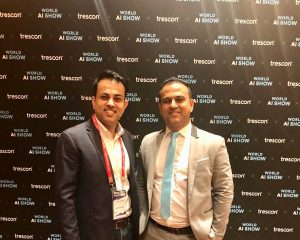 Kishore Mansinghani, CEO of Future1Exchange with Mohammed Saleem, CEO of Trescon, at World AI Show & World Blockchain Summit, that took place on 24th and 25th July 2019 in Singapore.