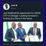 AKON signs agreement for AKON City in Senegal